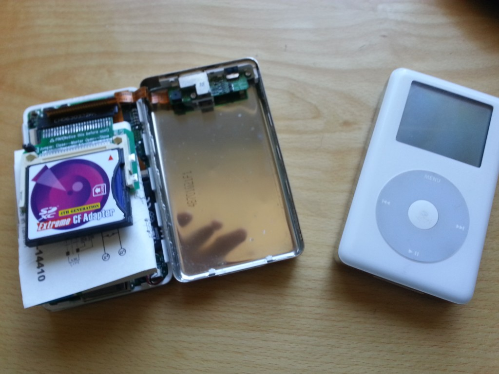 The two victims of my iPod 4th Gen Classic hard-drive replacement / refurbish.