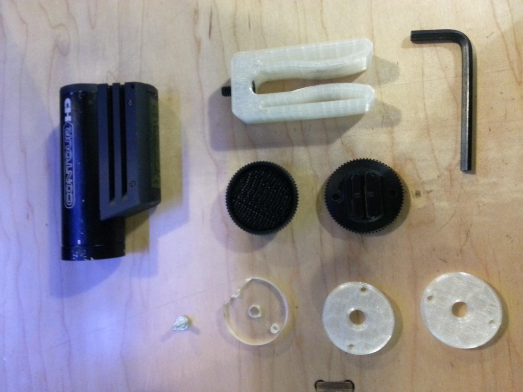 This shows all the various parts and tools needed to create the ContourHD Skateboard Clamp