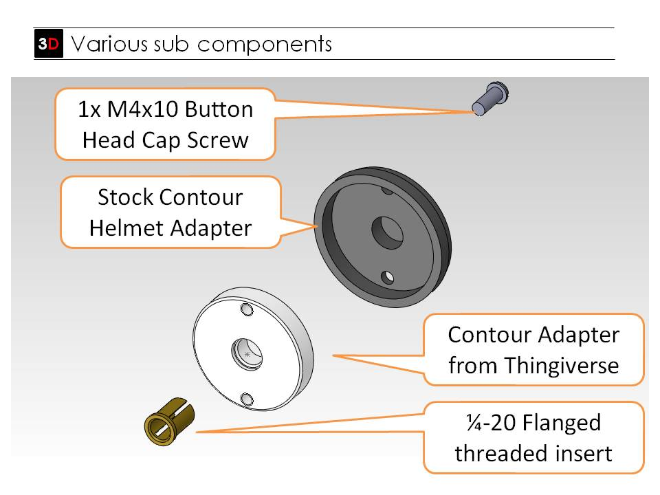 This exploded view shows what you have to do in order to convert your ContorHD helmet mount